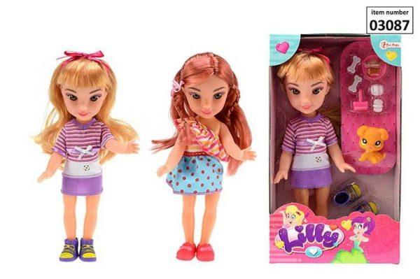 """""""Lily"""" 29cm Huisdier/kapper pop incl. accessoires 2-ass."""