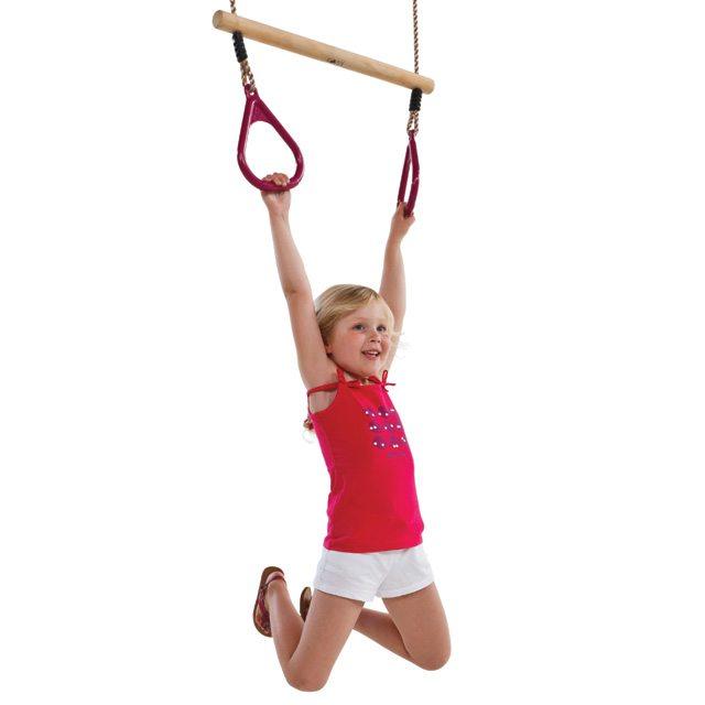 Houten ring trapeze met kunststof ringen paars