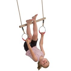 Houten ring trapeze met metalen ringen