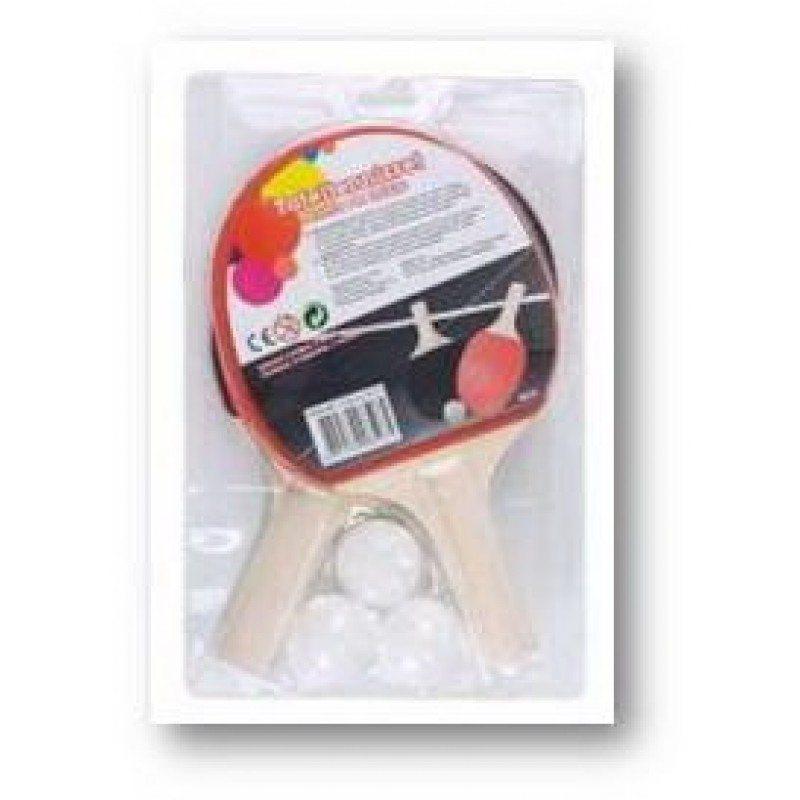 Tafeltennis batjes 2 stuks + 3 ballen Playfun