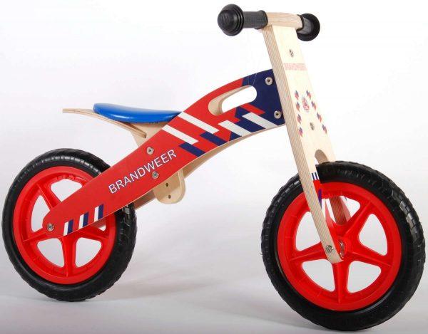 Yipeeh houten loopfiets Brandweer 12 inch met EVA banden