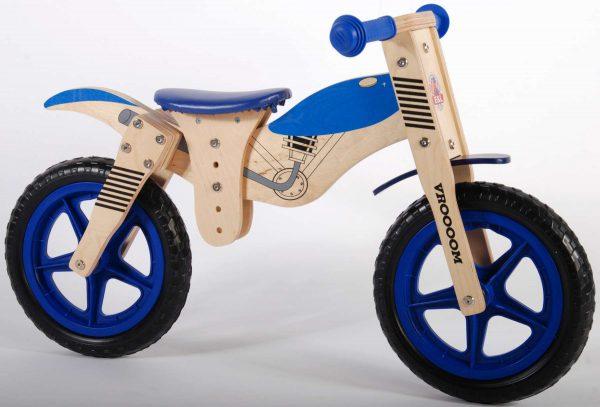 Yipeeh houten loopfiets Brommer Blauw 12 inch