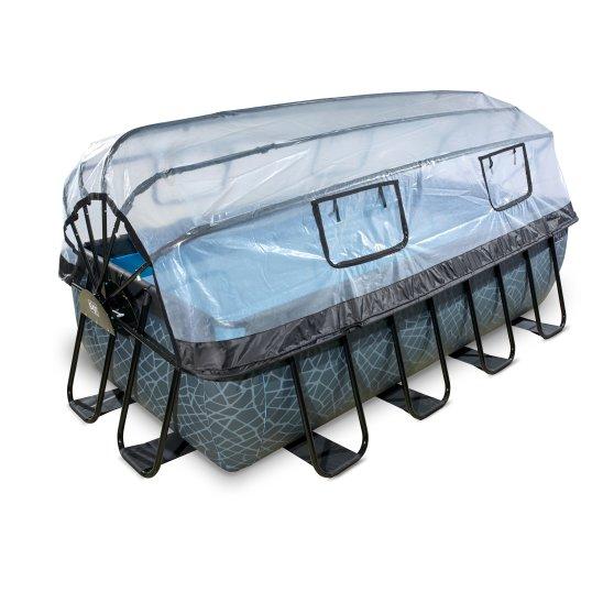EXIT zwembad Stone 400x200cm met overkapping en zandfilterpomp – grijs