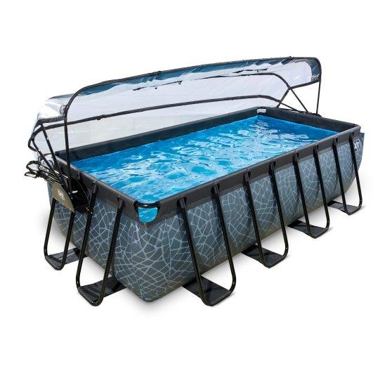 EXIT zwembad Stone 400x200cm met overkapping en filterpomp – grijs1