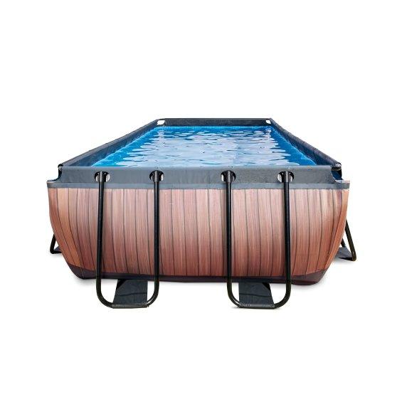 EXIT zwembad Wood 400x200cm met filterpomp – bruin2