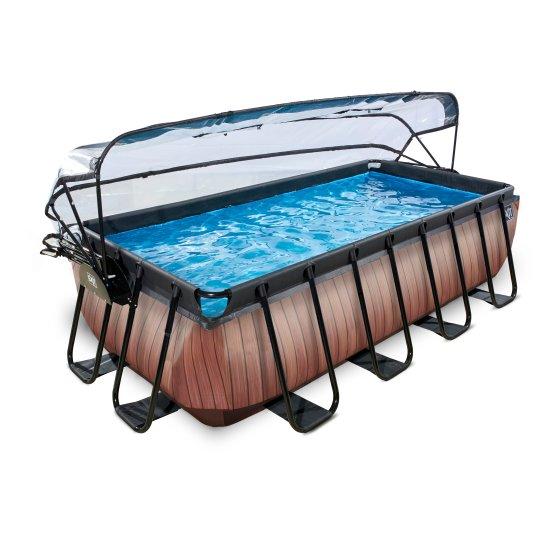 EXIT zwembad Wood 400x200cm met overkapping en filterpomp – bruin1