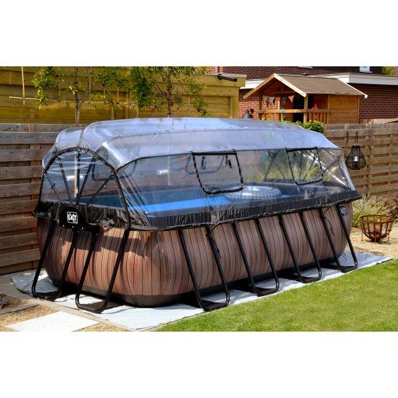 EXIT zwembad Wood 400x200cm met overkapping en filterpomp – bruin2