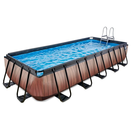EXIT zwembad Wood 540x250cm met filterpomp – bruin