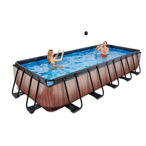 EXIT zwembad Wood 400x200cm met zandfilterpomp – bruin