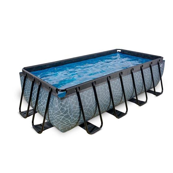 EXIT zwembad Stone 400x200cm met zandfilterpomp – grijs
