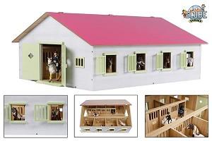 Kids globe 610189 Paardenstal groot met boxen roze/1:24