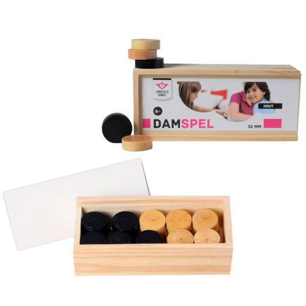 Damstenen Longfield 32 mm in houten kistje