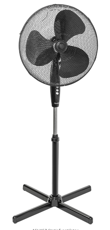 Statiefventilator ASV45Z – Korf 45cm – Zwart – 45W