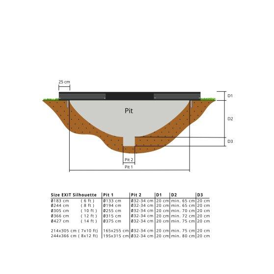 EXIT Silhouette inground trampoline 214x305cm met veiligheidsnet – zwart1