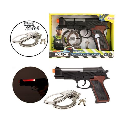 POLICE Politie pistool met metalen handboeien
